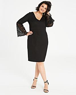 Lovedrobe Fluted Lace Sleeve Shift Dress