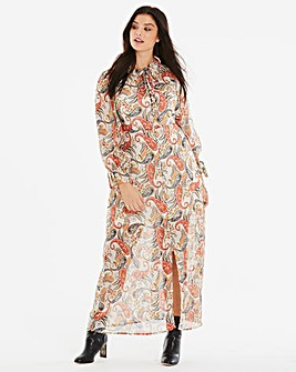Neon Rose Paisley Print Maxi Dress