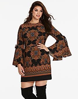 Ax Paris Curve Printed Bell Sleeve Dress
