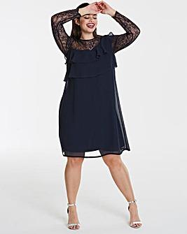 Elise Ryan Frilled Chiffon Dress