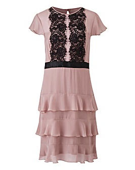 Elise Ryan Chiffon Dress with Frill Skirt and Lace Trim