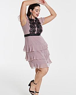 Elise Ryan Chiffon Dress with Frill Skirt and Lace Trim