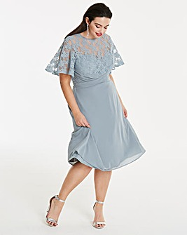 Elise Ryan Chiffon Dress with Lace Detail Top and Flutted Sleeves