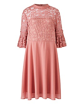 Elise Ryan Lace Dress with Bell Sleeve Detail and Chiffon Skirt