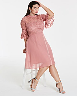 Elise Ryan Lace Dress with Bell Sleeves
