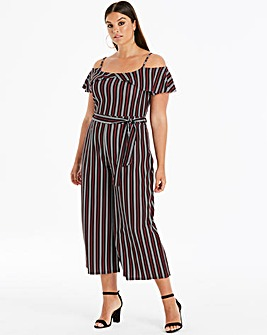 Quiz Curve Multi Stipe Cold Shoulder Jumpsuit