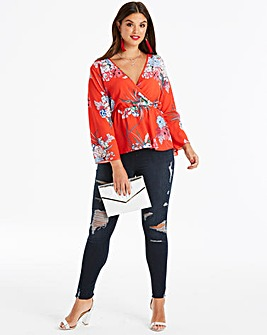 Quiz Curve Long Sleeve Floral Wrap Top