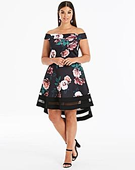Quiz Curve Floral Print Dip Dress