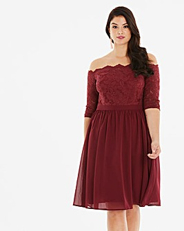 Chi Chi London Lace Bardot Midi Dress