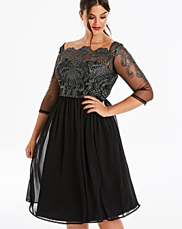 Chi Chi London Silver Lace Midi Dress