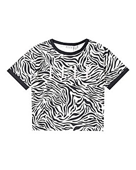 Elle Girls Zebra AOP Cropped T-Shirt