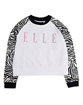 Elle Girls Zebra Crew Neck Sweatshirt