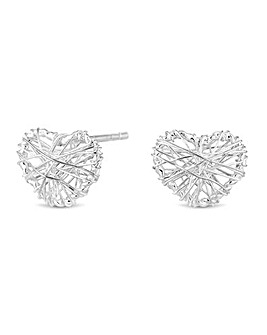 Simply Silver Heart Cage Stud Earring