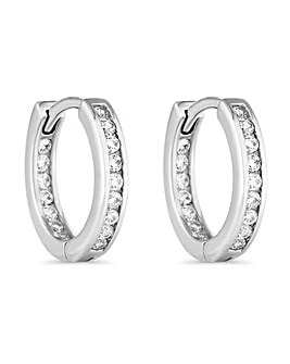 Simply Silver Channel Set Hoop Earrings