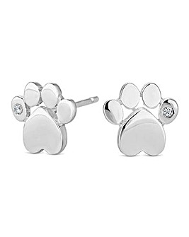 Sterling silver paw print stud earring