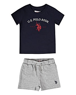 U.S. Polo Assn Navy Tee and Short Set