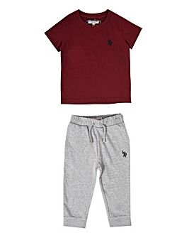U.S. Polo Assn Red Tee and Jogger Set
