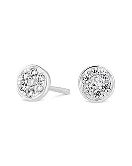 Sterling silver pave stud earring