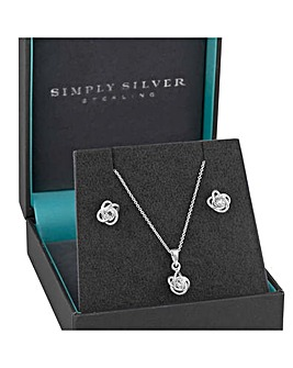 Simply Silver Knot Jewellery Set