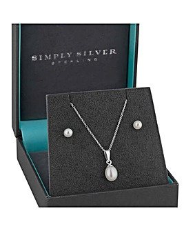 Simply Silver Pearl Jewellery Set