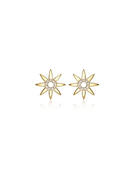 9CT CZ Sun Earrings