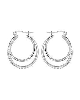 CZ Double Hoop Creole Earrings
