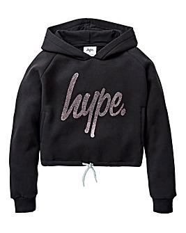 Hype Girls Glitter Script Crop Hoodie