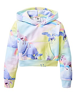 Hype Girls Rainbow Unicorn Crop Hoodie