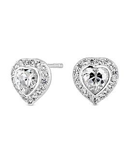 Simply Silver Heart Halo Stud Earring