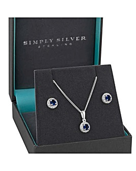 Sterling Silver Blue Cubic Zirconia Halo Jewellery Set