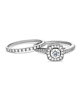 Simply Silver Halo Ring Set