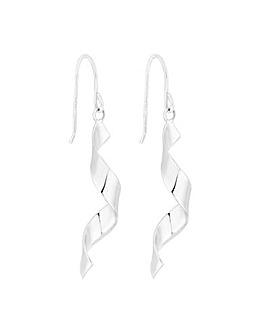 Simply Silver Ribbon Twist Drop Earring
