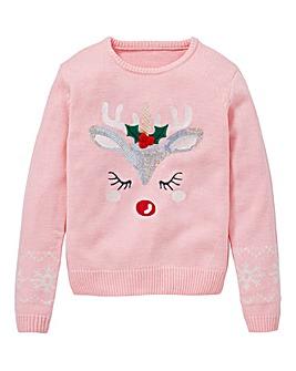 KD Girls Unicorn Christmas Jumper