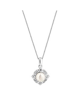 Simply Silver Pearl Halo Necklace