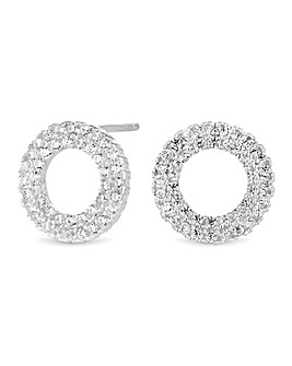 Simply Silver Pave Circle Stud Earring