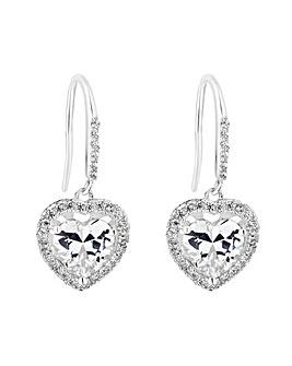 Simply Silver Heart Halo Drop Earring