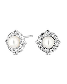 Simply Silver Pearl Halo Stud Earring