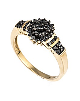 9ct YG Black Diamond Cluster Ring