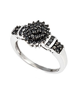 9ct WG  Black Diamond Cluster Ring