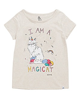 Animal Girls Cream Marl Magicat T-shirt