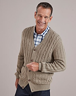 Taupe Cable Button Cardigan Regular