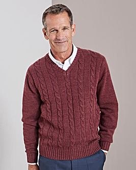 Rust V Neck Cable Sweater Regular