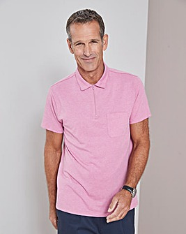 Pink Zip Neck Polo Shirt Regular