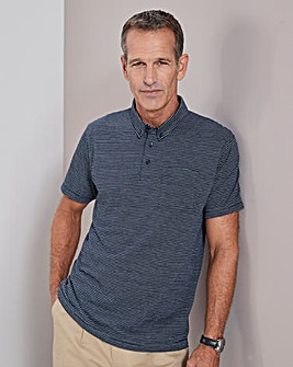 Navy Stripe Short Sleeve Polo Shirt Long