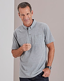 Grey Stripe Short Sleeve Polo Shirt Long