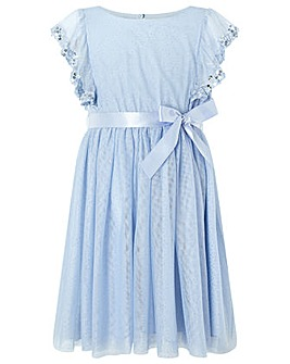 Monsoon Amika Blue Sequin Frill Dress