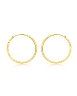 9Ct Gold 22mm Plain Hoop Earrings