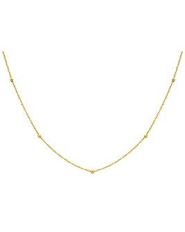9Ct Gold Twist Curb And Spheres Necklace
