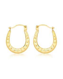 9Ct Gold Ridged Creole Earrings