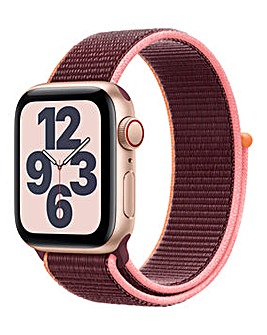 Apple Watch SE GPS + Cellular, 40mm Gold Case with Plum Sport Loop